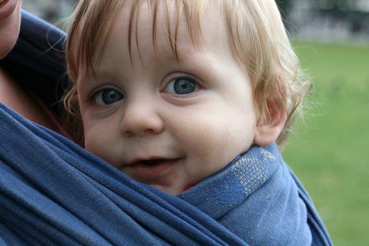 Finn in a Didymos Steel Blue Fish woven wrap
